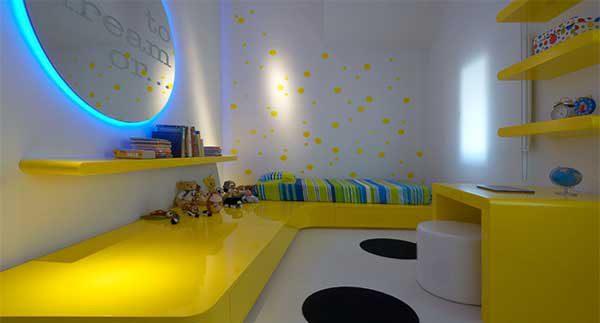 دکوراسیون اتاق کودک با تم زرد