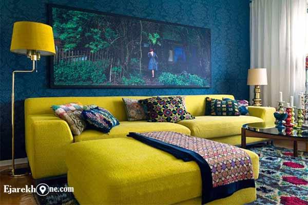 ترکیب رنگ آبی، فیلی، زرد و سبز